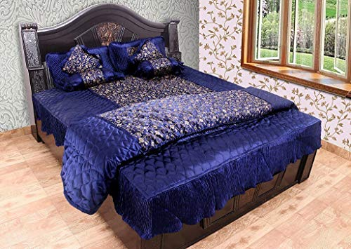 SD ENTERPRISES Gold Printed Satin Blue Double Bed Bedding Set: 1 Bedsheet, 2 Pillow Cover, 2 Cushion Cover , 2 Filled Bolsters, 1 AC Comforter - Set of 8 Pieces