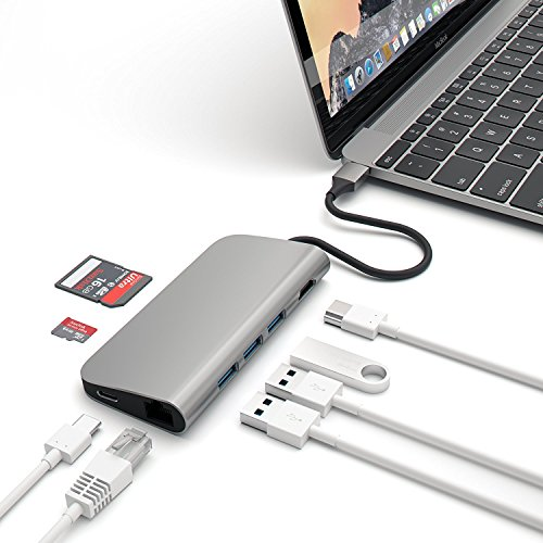 Microware 8 in 1 Aluminum Multi-Port Adapter 4K HDMI Type-C Ethernet SD Micro Card Reader and 3 USB 3.0 Ports Space Gray