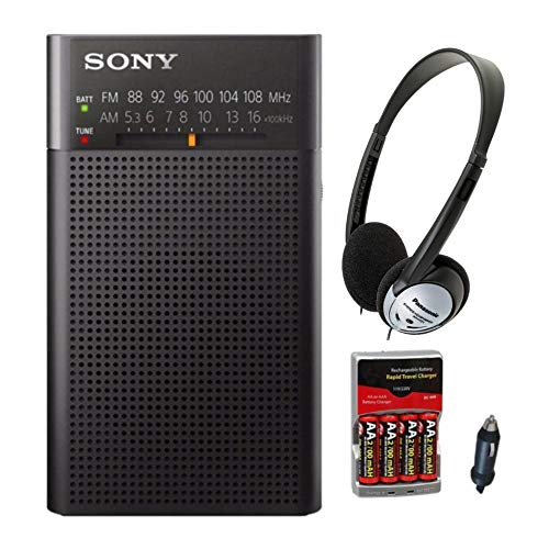 Sony ICFP26 Portable AM/FM Radio (Black) w/ Re-charger, batteries, and headphones