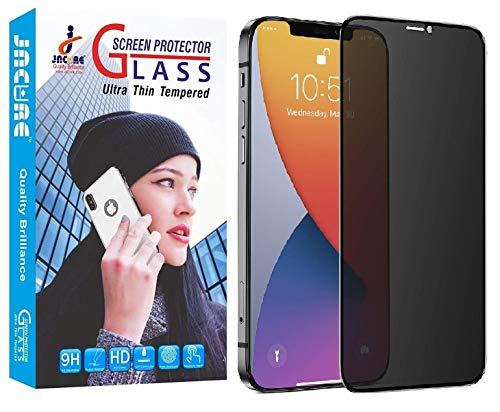 Jacure® Privacy Tempered Glass for iPhone 12 and 12 Pro Full Coverage 9H Hardness Anit-Explosion Screen Protector Film - Black