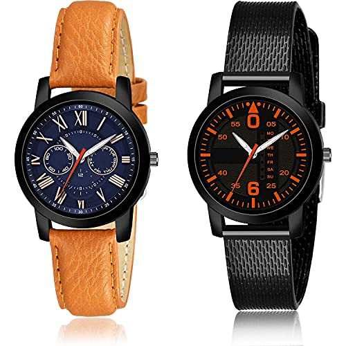 GROOT Italian Designer Analogue Blue and Black Color Dial Women Watch - (62-L-1)-(22-L-10) (Pack of 2)