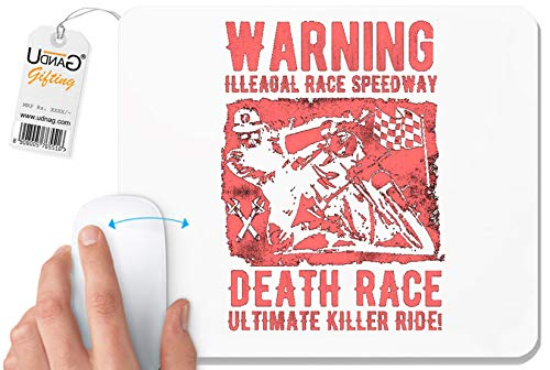 UDNAG White Mousepad 'Death Race | Warning Race Speed Way Death Race Ultimate Killer Ride' for Computer/PC/Laptop [230 x 200 x 5mm]