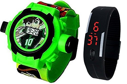 Boss Pappi-Haunt Set of 2 Benton (Ben 10) Projector Band and Jelly Slim Black Digital LED Band for Kids