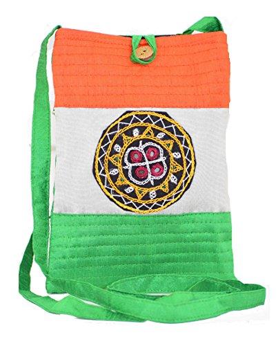 Ethnics of Kutch Raw Silk Aahir Work Patchwork Tri Colour Mobile Cover EK-MBC-0001 Orange