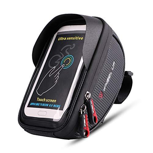 Decdeal Bike Front Bag Bicycle Cycling Phone Holder Bike Touchscreen Phone Case MTB Bike Storage Bag Handlebar Phone Pack
