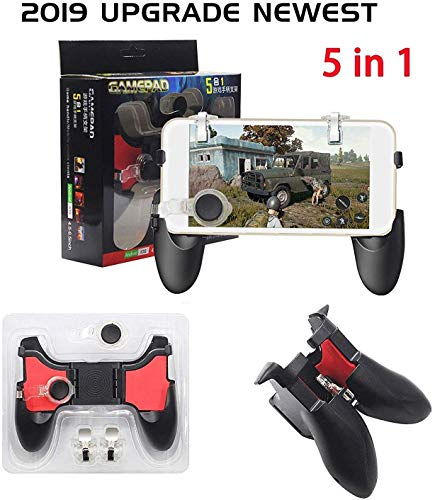 Jyotinex PUBG Joystick Mobile Game Controllers, Sensitive Aim & Shoot Grip Joysticks Gamepad with Gaming Trigger for PUBG/Fortnite/Rules of Survival 4.7-6.5 inch Android iOS Phone (Black 2)