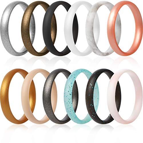 ThunderFit Super Thin Stackable Silicone Rings Bands - 12 Rings (4.5-5 (15.7mm)