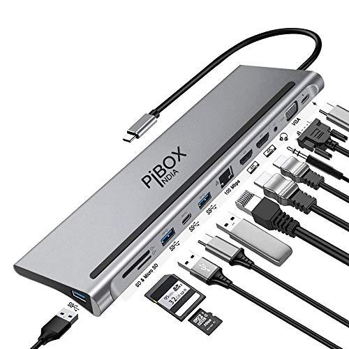 PiBOX India, USB C to 12 in 1 HUB Dock MST,Aluminum Type C Station 2* HDMI Port, 1* VGA, RJ45, 3 USB 3.0 Ports, 1 3.5mm Audio, USB-C Power Delivery, TF/SD Slot and USB C Data Port - for Laptops/MAC