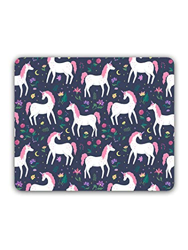 Madanyu Designer Mousepad Non-Slip Rubber Base for Gamers - HD Print - Cute Unicorn Leaves
