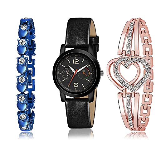 TIMENTER Stylish Bracelet and Watch Combo Analogue Black,Blue and Rose Gold Color Dial Women Watch - (64-L-6)-GX2-GX7 (Pack of 3)