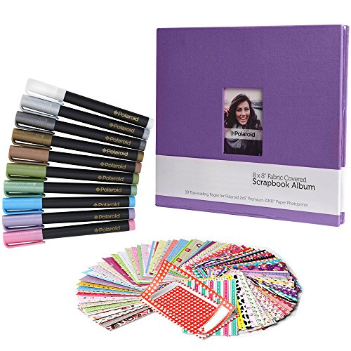 Polaroid Scrapbook Deluxe Colorful Bundle - 8x8 Cloth Scrapbook + 100 Sticker Border Frames + 10 Metallic Markers for Fuji Instax Mini 9, 26, 8, 7 Instant Camera Projects