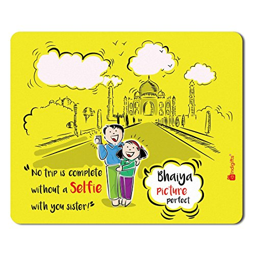 Indigifts Raksha Bandhan Gifts for Brother Selfie With Sister Quote Printed Yellow Mouse Pad 8.5x7 inches - Rakhi Gifts for Brother, Birthday Gift for Brother, Rakshabandhan Gifts, Rakhi Gift for Sister