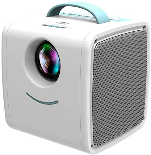 HDLiang Mini Projector - Portable LED LCD Projector, Full HD 1080P Supported, Compatible with PC Mac TV DVD iPhone iPad USB SD AV HDMI, Home Theater & Outdoor Projector Gifts for Kids Blue