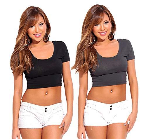 Fashion Line Women Crop Tshirt Combo Pack (Black & Grey - Pack of 2)