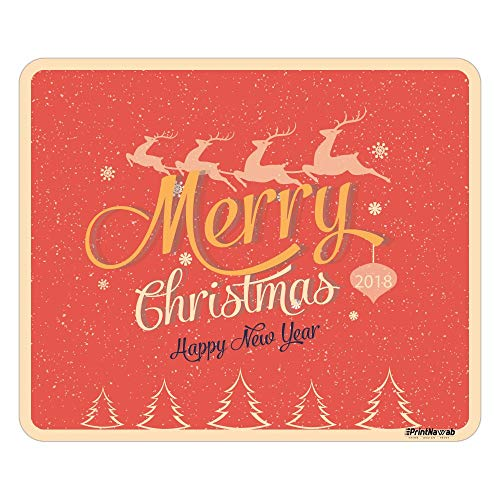 PRINTNAWAB® Designer Mousepad | for Laptop and PC | Anti-Skid Natural-Rubber Base & Water Resistant | Merry Christmas New Year Wishes 3 Printed Design