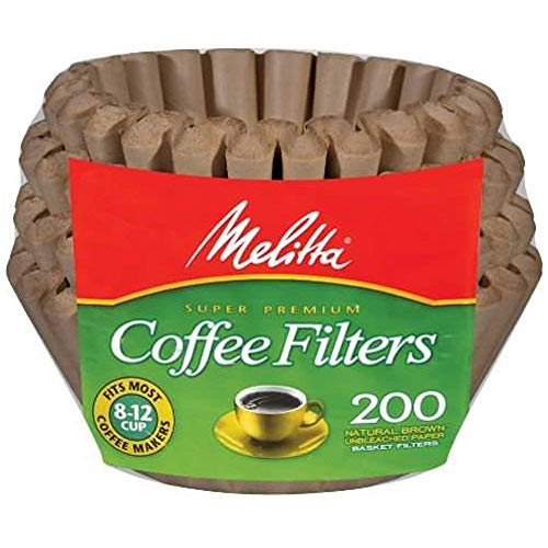 Melitta Basket Coffee Filters, Natural Brown (8 to 12-Cup), 200-Count Filters (Pack of 2)