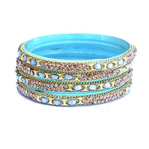 Fashion Icon Glass Bangle Kada Set Golden Stone Designer Handcrafted Bangles for Women & Girls on Wedding & Festive Occasions (2.6)