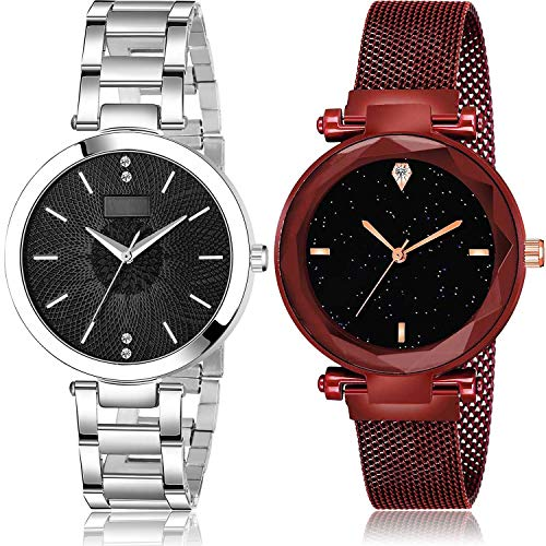 NEUTRON Chain and Magnet Analog Black Color Dial Women Watch - GM201-GC4 (Pack of 2)