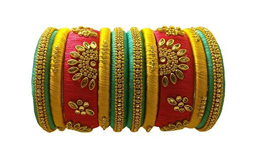 YAALZ Designer Silk Thread Matching Bangle Set Bridal Wedding Chuda Indian Traditional Fashion Jewellery for Women and Girls (Pink, Turquoise & Yellow, 2.4)
