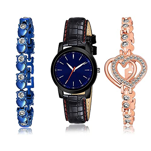 TIMENTER Stylish Bracelet and Watch Combo Analogue Blue and Rose Gold Color Dial Women Watch - (54-L-4)-GX2-GX8 (Pack of 3)