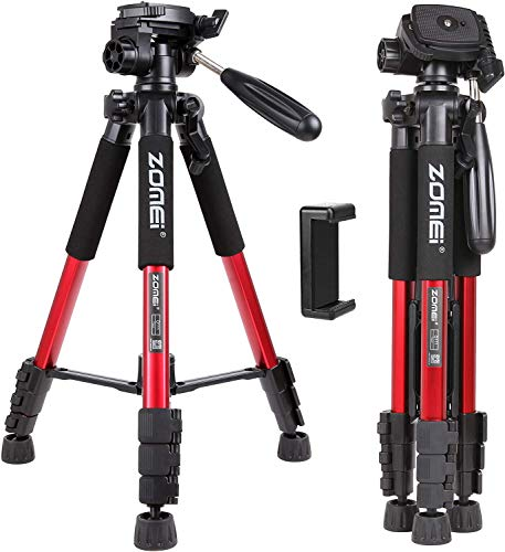 "Zomei Q111 55inch Panoramic Camera Tripod Lightweight with 1/4"" Quick Release Plate for Digital SLR Canon Nikon Sony Samsung etc, (red)"