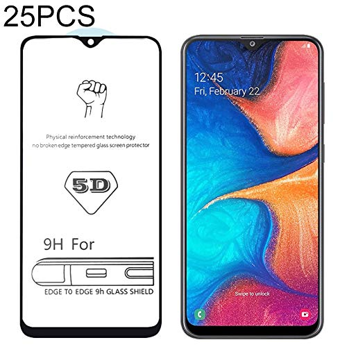 LIDGRHJTHTGRSS Mobile Phone Accessories Screen Protectors 25 PCS 9H 5D Full Glue Full Screen Tempered Glass Film for Galaxy A20
