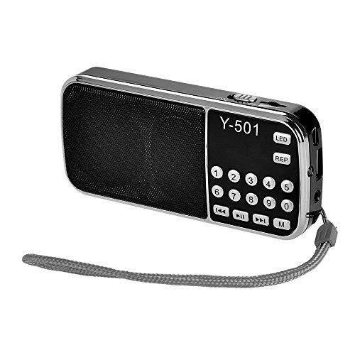 Festnight Mini FM Radio Digital Portable Stereo Speaker MP3 Audio Player High Fidelity Sound Quality