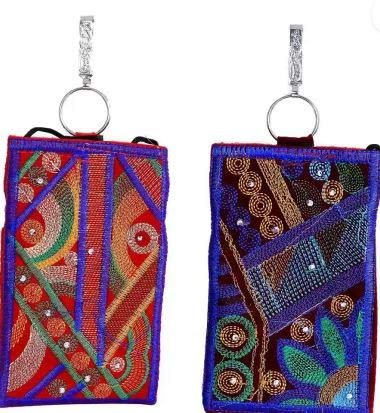 yi-Women's Cotton Designer Embroided Mobile-Phone Pouch Cover Rich Embroidery in Traditional Indian Style and Sari Hook for Women