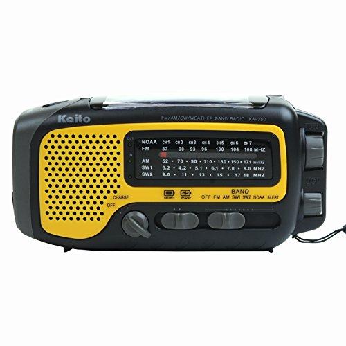 Kaito KA350 Voyager Trek Solar/Crank AM/FM/SW NOAA Weather Radio with 5-LED flashlight