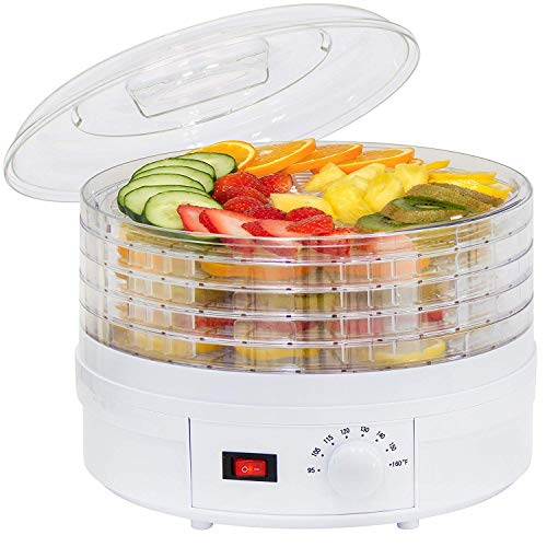 PARATPAR MALL Electric Dry Food Saver, Dehydrator, Preserver & Storage Machine with 5 Stackable Tray [White]