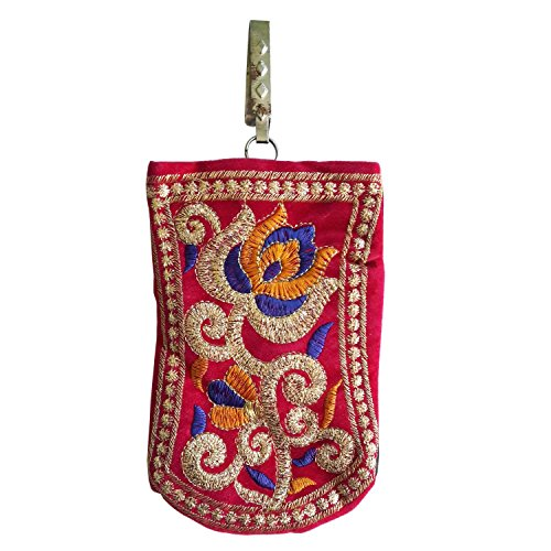 Salvus App SOLUTIONS Beautifully Handmade Pink with Purple-Yellow Flower Art Mobile Bag