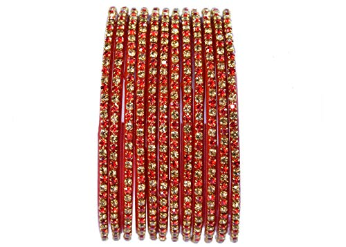 Apple Tree Fine Quality Zircon Bangles for women and girls (Red, 2.11)