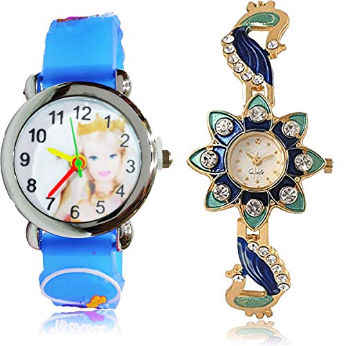 GROOT Erika Doll Kids and Peacock Analog White Color Dial Girls Watch - GC63-G119 (Pack of 2)