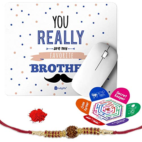 Indigifts Rakshabandhan Gifts for Brother You are My Favourite Bro Quote Printed Mouse Pad 8.5x7 inches, Rudraksha Rakhi, Roli & Greeting Card - Rakhi for Brother with Gifts, Raksha Bandhan Gifts, Rakhi Gifts for Brother