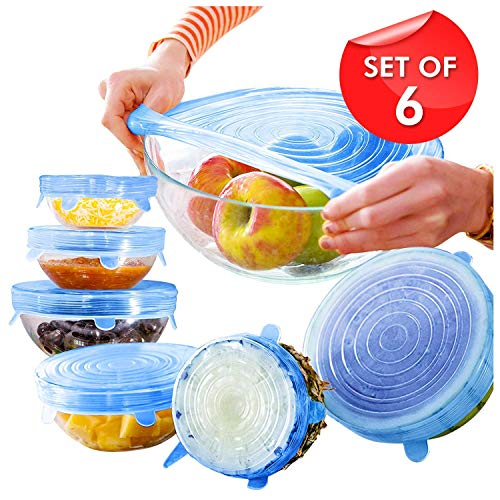 KitchenFest® Silicon Lids Covers Flexible & Stretchable Utensils Dishwasher Microwave and Freezer Safe Lids Cover for Bowls Dishes Plates Jars Glassware and Mugs Food Saver Covers (Set of 6)