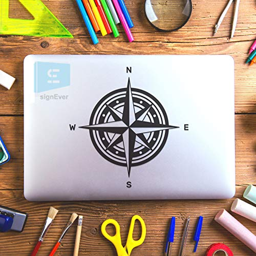 SIGN EVER Compass Logo Laptop Skin Stickers for 15.6 14 13 12 Inches and All Models Decals Vinyl L x H 16.00 cm x 16.00 cm
