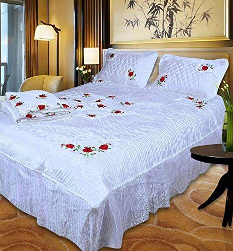 Namaste India Satin White Double Bed Bedding Set: 1 Bedsheet, 2 Pillow Cover, 1 AC Comforter - Set of 4 Pieces