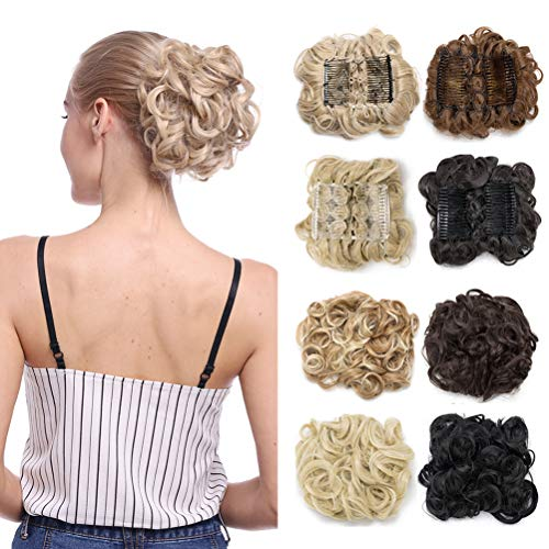 Lady Fashion Mall Light Brown: Combs Clip In Bun Claw Jaw On Updo Hairpiece Extensions Wavy Donut Chignons Wrap Around Scrunchy Blonde Brown Black