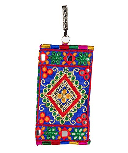 Markstor Women's Handmade Ethnic Embroidered Wallet Mobile Phone Pouch Cover for Ladies with Hook