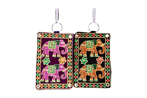 Craft Trade Women's Cotton Embroided Mobile-Phone Pouch Cover A- Set of 2 (Orange-Pink)