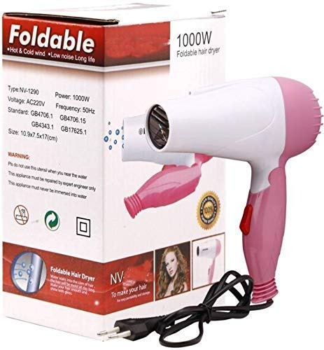 Dishan Professional Electric Foldable Hair Dryer,Hot and Cold hair dryer for Ladies, Girls, Women, Styling dryer With 2 Speed Control- 1000 Watt