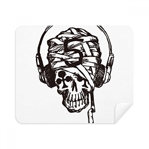 DIYthinker Headset Skull Music Pattern Illustrate Phone Screen Cleaner Glasses Cleaning Cloth 2Pcs Suede Fabric