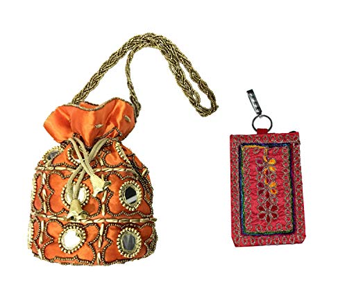 SHUBHANGI COLLECTIONS Women's Multicolored Combo Heavy Resham Potli Bag/Mobile Cover