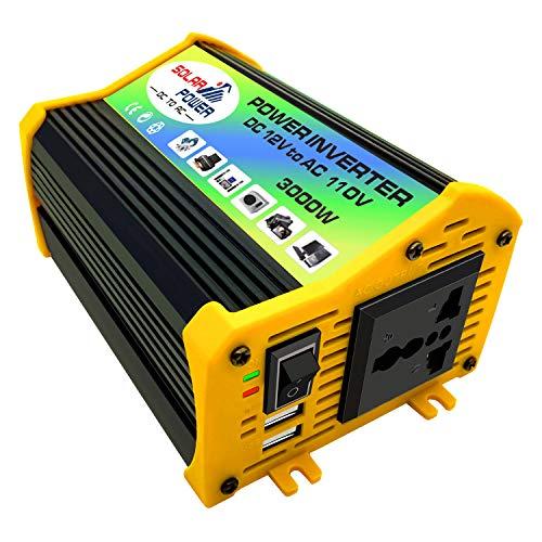 KKmoon-1 Peaks Power 3000W Modified Sine Wave Inverter High Frequency Power Inverter DC 12V to AC 110V Converter Car Power Charger Inverter with 2.1A Dual USB Port Battery Clips