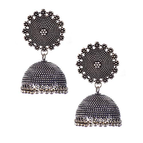 Mellmon High Quality Fancy Spark Oxidised Silver Plated Jhumka for Girls and Women (Brass Earring)