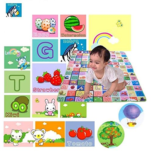 Vachan Creation Waterproof Double Sided Baby Play Mat Child Activity Foam Floor Soft Kid Eductaional Toy Gift Gym Crawl Blanket Ocean Zoo Carpet- 120 x 180cm