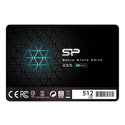 """Silicon Power -512Gb Ssd 3D Nand A55 SLC Cache Performance Boost Sata Iii 2.5"""" 7mm - 0.28"""" Internal Solid State Drive"""