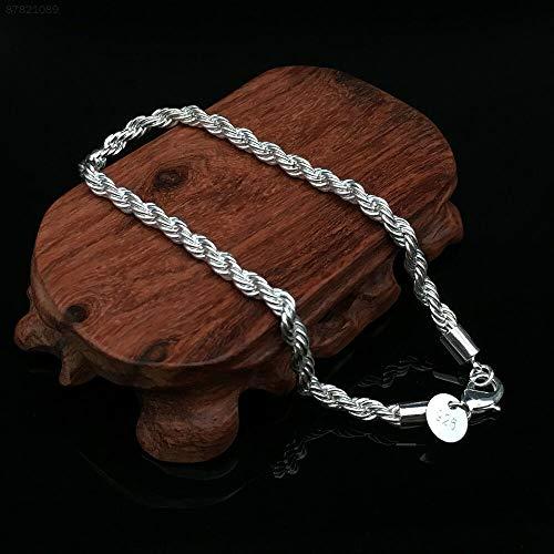 ELECTROPRIME 77F1 Bracelet Silver Twisted Rope Christmas Bangle Wristband Fashion