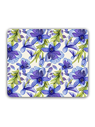 Madanyu Designer Mousepad Non-Slip Rubber Base for Gamers - HD Print - Blue Flowers Girly