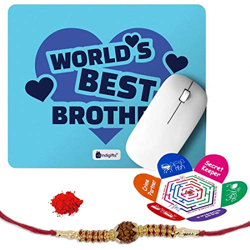 Indigifts Rakshabandhan Gifts for Brother World's Best Bro Quote Printed Mouse Pad 8.5x7 inches, Rudraksha Rakhi, Roli & Greeting Card - Rakhi for Brother with Gifts, Raksha Bandhan Gifts, Rakhi Gifts for Brother